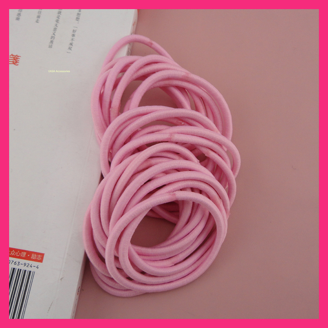 50PCS 16.0cm circle 4mm Light Pink Elastic Ponytail Holders hair bands with gluing  connection 58287b634749