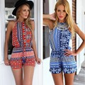 Summer Style Sexy Women Halter Off-shoulder Jumpsuit Back Hollow High Waist Short Geometric Jumpsuit