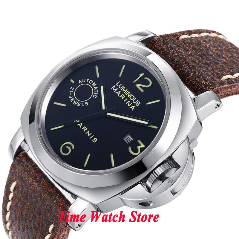 44mm Parnis black dial sapphire glass luminous 21 JEWELS MIYOTA Automatic movement men's watch men M49 44mm planca black dial luminous 24 hours miyota automatic movement men s watch men pl1