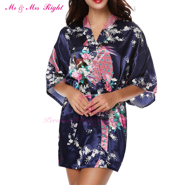 Mr & mrs right moda curto robe pavão 7 cores V Profundo Sexy Camisola de Dormir Dama de Honra Da Noiva de Presente de Natal Pijama Kimono
