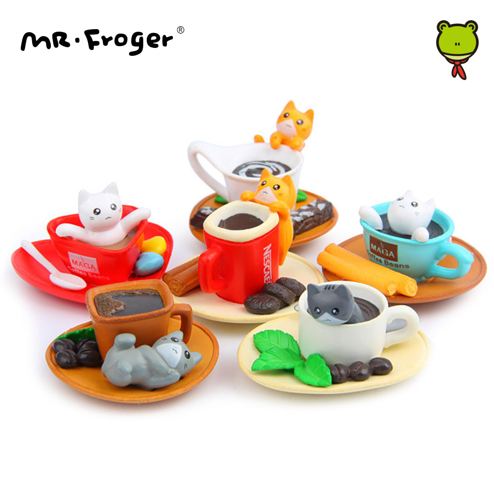 Mr.Froger Kawaii Cartoon Cute Coffee Cat Set Q Version Cat Micro Miniature Garden Decorations Action Figure Anime DIY Toys Kids sjoloon christmas photography background baby photo backdrops computer print photo background fond photo studio thin vinyl props