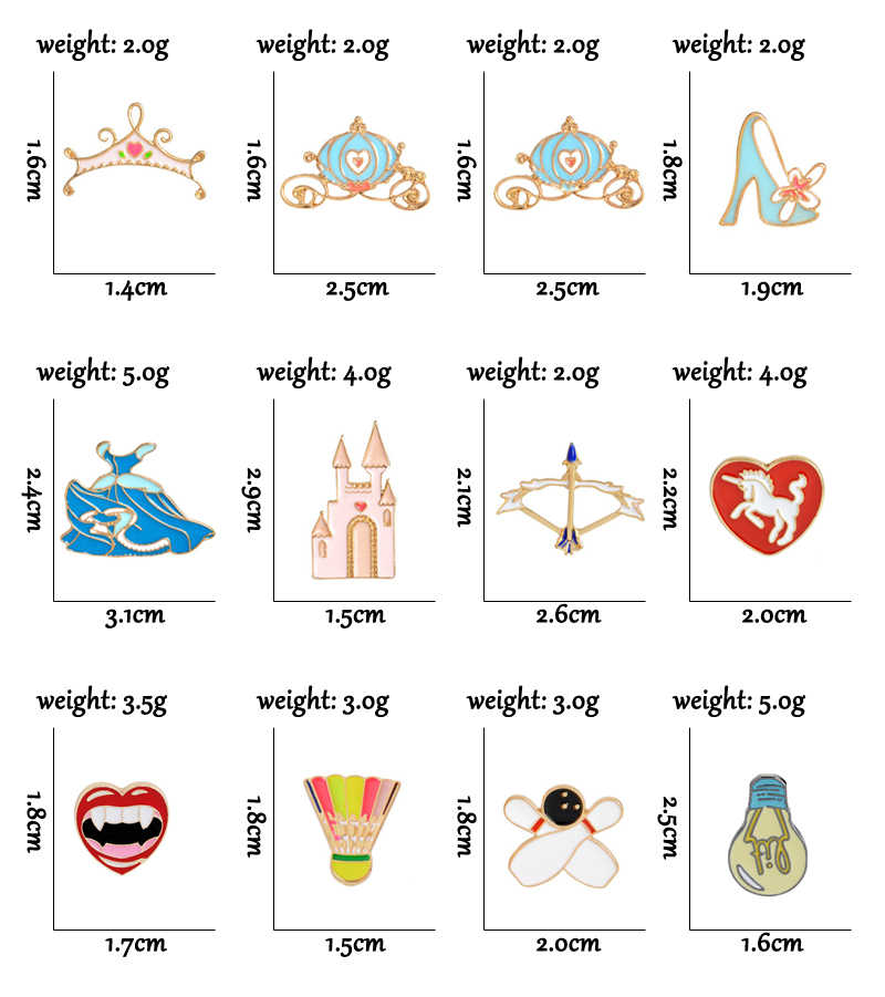 Kartun Lampu Bohlam Bros Pin Busur Panah Kuda Bowling Badminton Castle Gaun Labu Mobil Mahkota Merah Bibir Pins Lencana Topi perhiasan