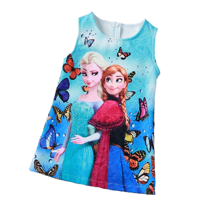 Frozen Anna Elsa Dress for Girls Casual Clothes Butterfly Flower Print Baby Girls Dress Kids Elza Costume Kids Frozen Vestidos button up flower print dress