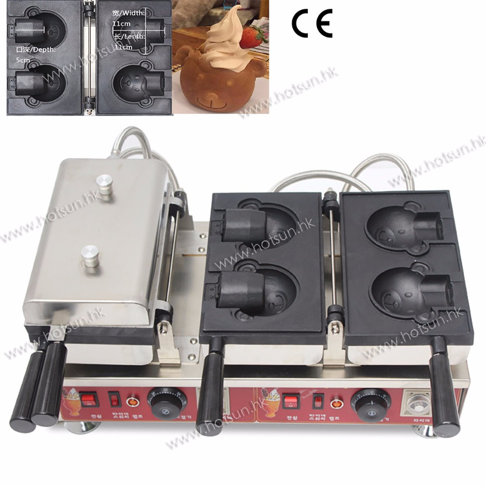 New Design Commercial  Non-stick 110V 220V Electric Bear-shaped Ice Cream Waffle Iron Maker Baker Machine free shipping commercial 110v 220v electric bear ice cream waffle iron maker baker machine