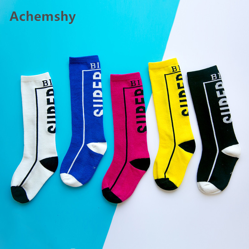 Kids Knee High Socks Cotton Letter Tube Socks Children Boys Girls Sports Football Skate Long Tube Leg Fashion Warm 1-8 T