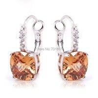 Classic Style Beautiful Morganite & White Topaz Dangle Hook  Silver Earring Fashion Earring Free Shipping Wholesale