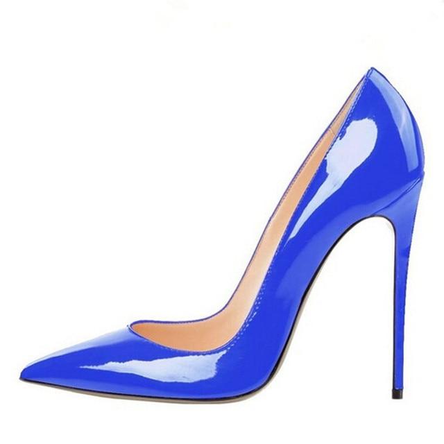 Marca Das Mulheres Sapatos de Salto Alto Mulheres Bombas 12 CM Saltos Azul sapatos Mulher Bombas Sexy Sapatos de Casamento Do Dedo Do Pé Apontado sapatos de Salto Alto B-0056