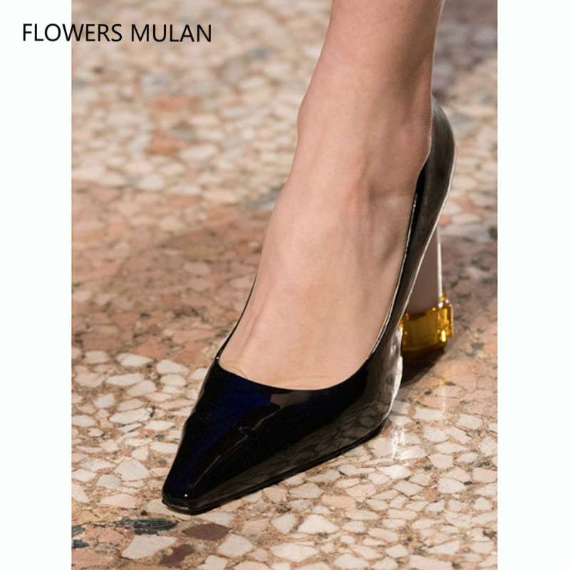 Latest Design Fashion Show Famous Brand Women Pumps Shoes Pointed Toe Black Brown Patent Leather Strange Heel Ladies Shoes Woman apopeo design brand ladies shoes black beige patent leather pumps 8 cm high heels shoes elephant strange style pumps 2018 newest