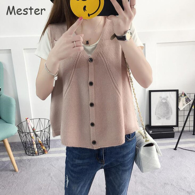 Preppy Style Cute Pocket Sweater Vest Korean Fashion Women Button ...