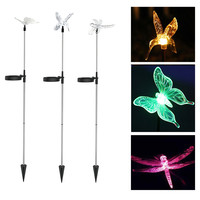 3pcs/lot Outdoor Solar Powered LED Lawn Light Bird&Butterfly&Dragonfly RGB Color Changing Garden Yard Patio Decoration Lamp