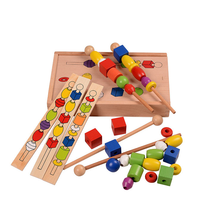 Baby Educational Toys Montessori Bead Sequencing Set Classic Toy Wooden Educational Toys Building Blocks Gift new wooden toys fight inserted blocks snowflake ornament inserted stella wooden blocks gift baby educational toy free shipping