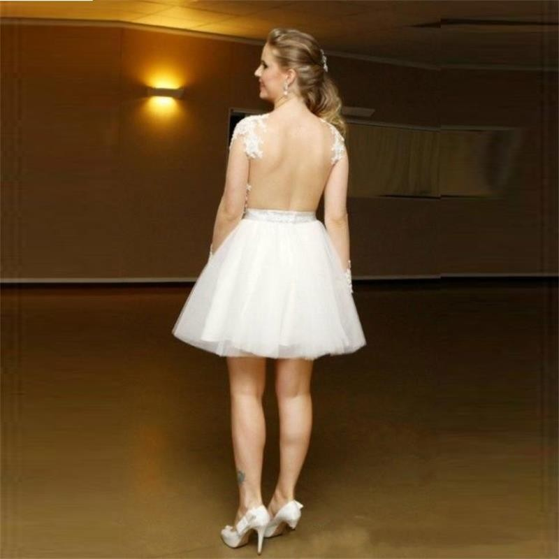 2016 Wedding Party Dresses with Long Sleeves Homecoming Dresses Sheer Backless Cocktail Dresses V Neck Beaded Appliques Short Prom Dresses (3)_conew1