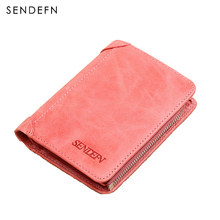 Sendefn Women Wallets Genuine Leather Lady Purse Small Short Wallet Female Vintage Purses Card Holder Ladies Wallet(Pink/Purple)(China)
