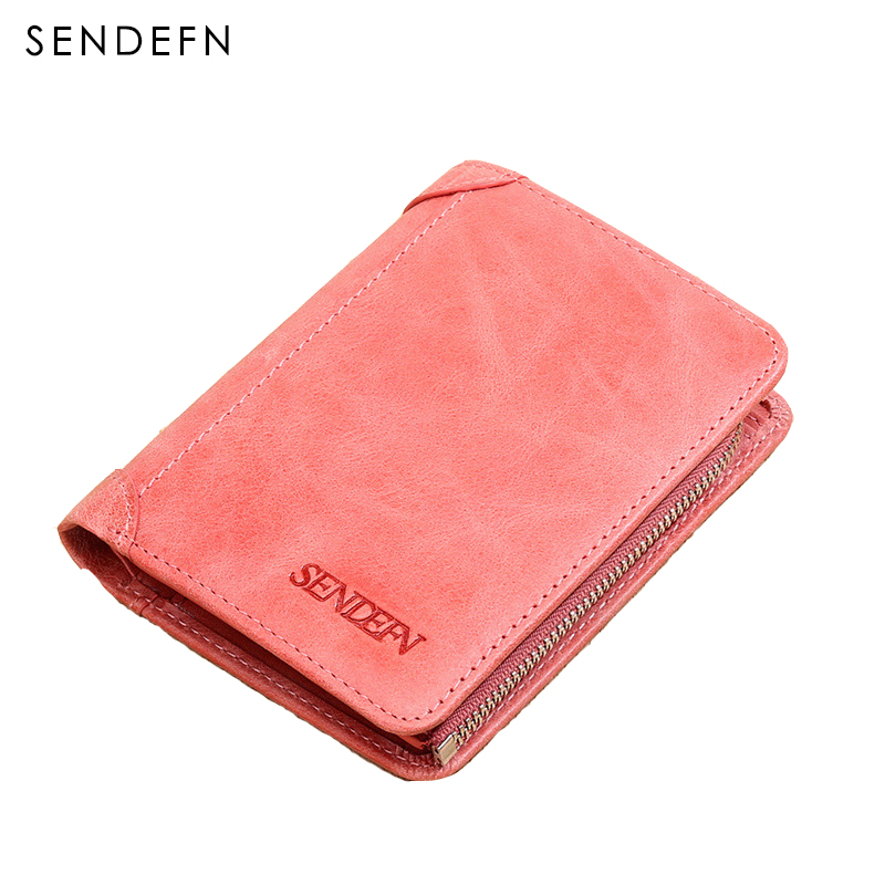 Sendefn Women Wallets Genuine Leather Lady Purse Small Short Wallet Female Vintage Purses Card Holder Ladies Wallet(Pink/Purple) ttou female small standard wallet solid simple pu leather women short wallets hasp vintage lady girls coins purse card holder