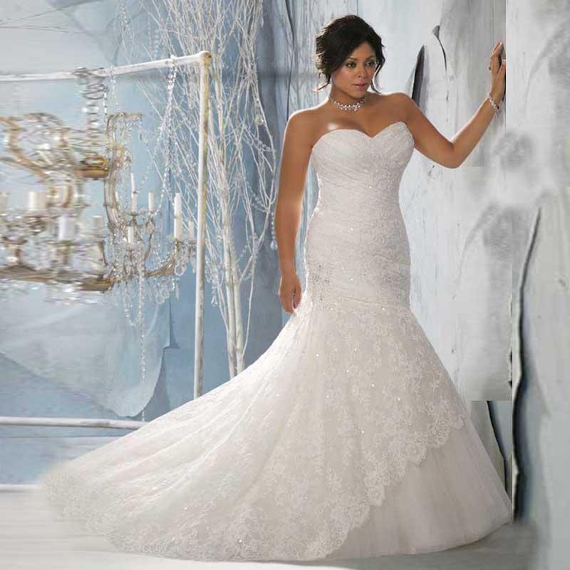 MonaLisa Women Plus Size Sexy Bridal Design Long Mermaid Sweetheart White Lace  Wedding Dress Vestidos De Noiva-in Wedding Dresses from Weddings   Events  on ... 7e66966161