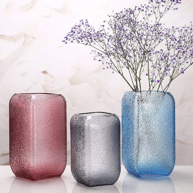 Vase en verre coloré moderne bleu/gris/violet cylindre carré orgue à fleurs terrarium récipient en verre vases de mariage décoration de la maison