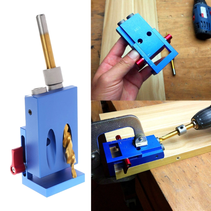OOTDTY Mini Kreg Style Pocket Slant Hole Jig System Kit with Step Drilling Bit Wood Work Tool Set woodworking tool pocket hole jig woodwork guide repair carpenter kit system with toggle clamp and step drilling bit cp527