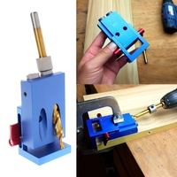 OOTDTY Mini Kreg Style Pocket Slant Hole Jig System Kit With Step Drilling Bit Wood Work
