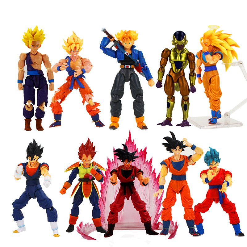 16cm Dragon Ball Z SHFiguarts Goku Vegeta Frieza Trunks Gohan Super Saiyan PVC Action Figure Model Toys Gifts