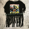 Women Tassel Crop Top Heavy Metal Iron Maiden Rock T-shirts 2017 New Fashion Summer Style Sleeveless Sexy Tee