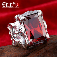 Beier 925 Silver Sterling Jewelry 2015 Punk Rock Bike Super Big Dragon Claw Gem Man Ring
