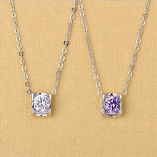 TJP Shiny Crystal Purple Female Pendants Necklace For Women Jewelry Fashion Heart Hollow Girl Clavicle Lady Party