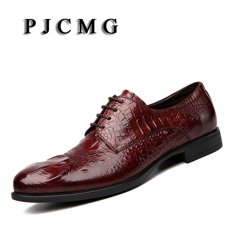 PJCMG British Style High Quality Oxfords Crocodile Pattern Genuine Leather Lace-Up Business Casual Men's Flats Wedding Shoes high quality men s shoes genuine leather british style mens loafers lace up business men oxfords shoes wedding dress flats shoes