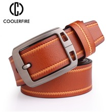 Coolerfire Mens Cow Genuine Leather Luxury Strap Male Belts For Men 3 Colors Cintos Masculinos Plate Buckle  SL003