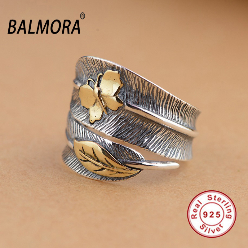 BALMORA 100 Real 925 Sterling Silver Jewelry Butterfly Feather Retro Rings for Women Party Gift Bijoux