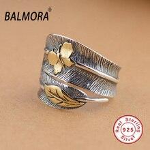 Balmora 100% реальные 925 пробы Серебряные ювелирные изделия Бабочка Перо Ретро Кольца для Для женщин подарок партии Bijoux тайский серебряное кольцо SY21477