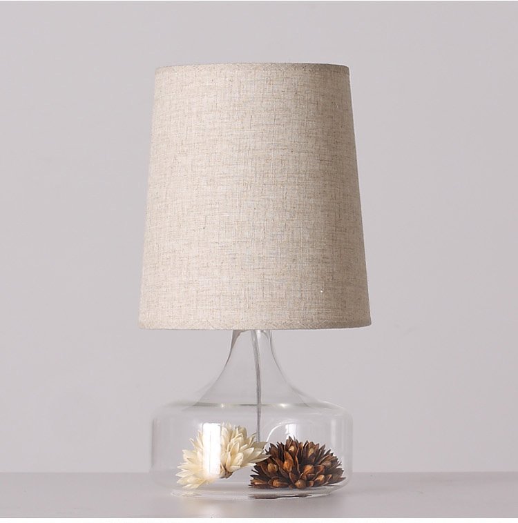 Clear Glass Base with Decoration Flower Beige Cone Fabric Shade Unique Design Deco Table Lamp Bedside Lamp Free Shipping