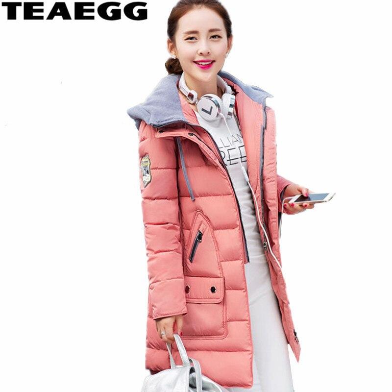 TEAEGG mi-long coton rembourré rose femmes Veste d'hiver 2019 Veste Hiver Femme manteau Hiver Femme vestes Chaquetas Mujer AL321