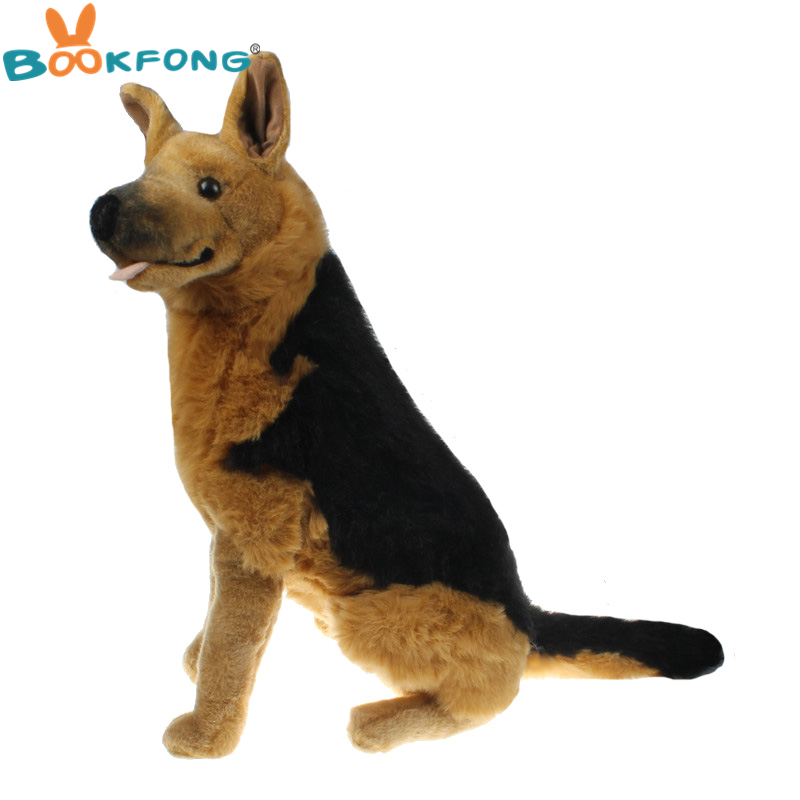 BOOKFONG 60CM Simulation German Shepherd Dog Plush Toy Stuffed Plush Animal Dog High Quality Gift for Children simulation shepherd dog polyethylene