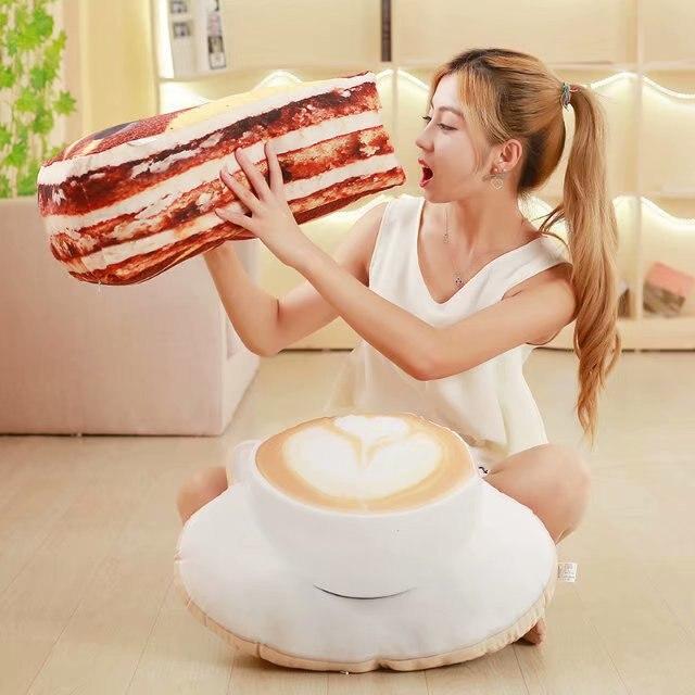 3D Simulation Food Shape Plush Pillow Creative Cake Coffee Beer Plush Toys Stuffed Sofa Cushion Home Decor Funny Gifts For Kids
