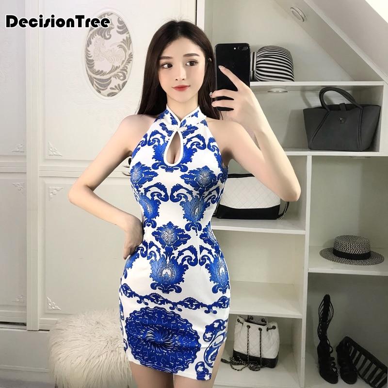 2ee6ebf2 2019 verano azul sexy chino vestidos chino qipao rojo oriental estilo  vestidos de estilo chino cheongsam moderno oriental