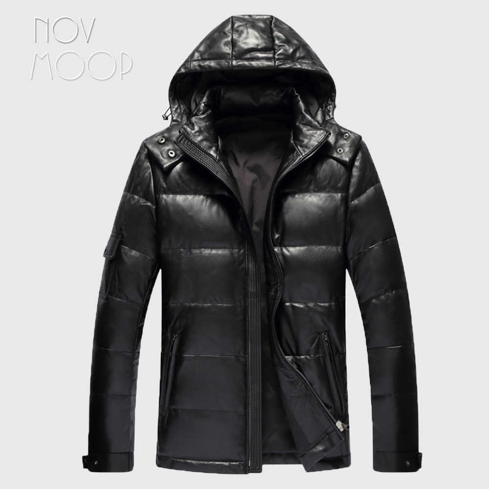 Men winter warm black genuine leather real lambskin duck down hooded jackets coats plus size jaqueta de couro deri ceket LT2447