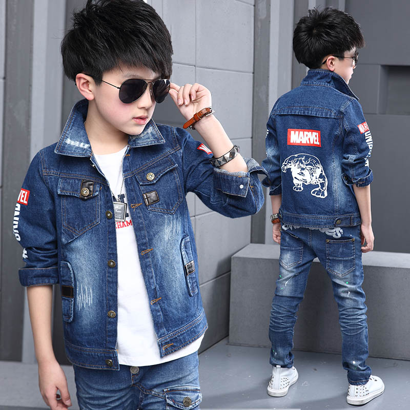 7cba403243d 2018 Spring Fall Children s Denim Jacket Big Boys Patches Spliced Casual Coat  Kids Holes Ripped Leisure Outerwear Clothes G738-in Jackets   Coats from ...