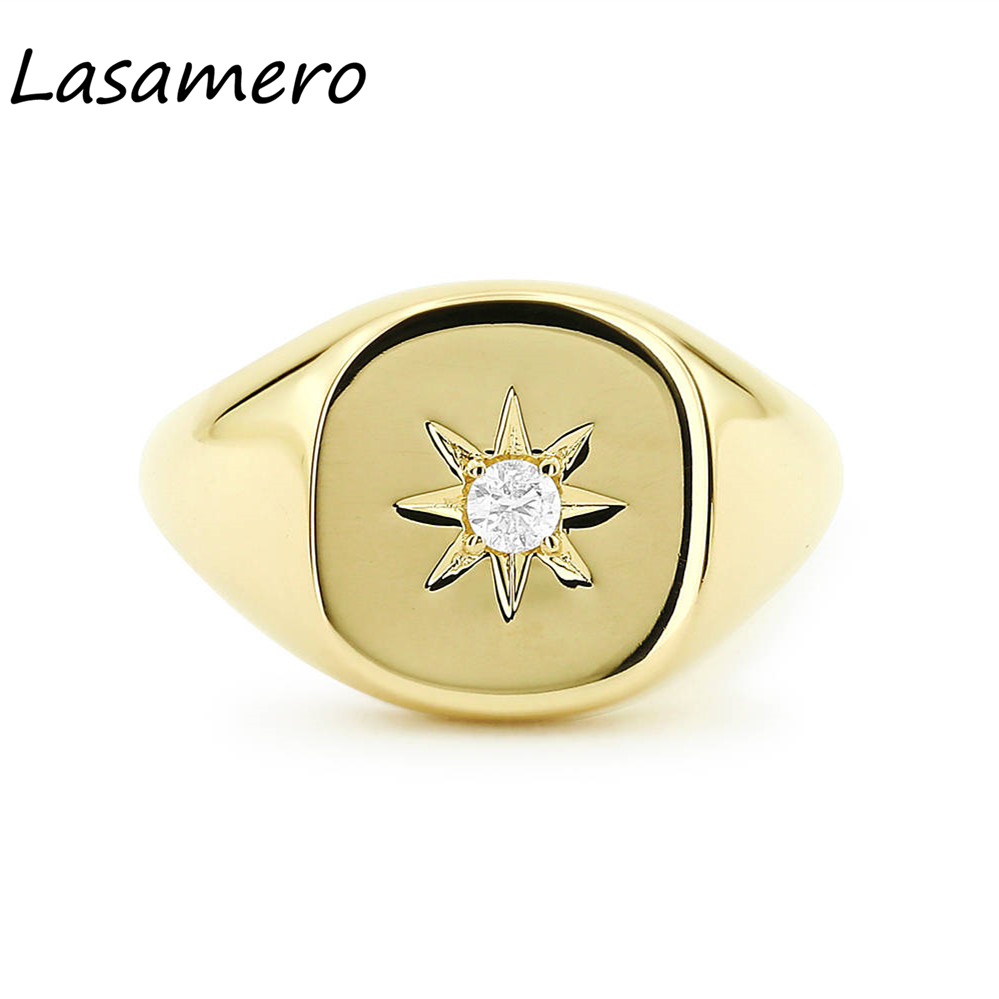 LASAMERO круглой огранки 0.07CT 4 зубцами Star установка Solitaire подушки Форма природных алмазов 14 К Золото панк перстень удачи кольцо 1 шт.