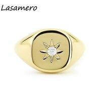LASAMERO Round Cut 0.07CT 4 Prongs Star Setting Solitaire Cushion Shape Natural Diamond 14k Gold Punk Signet Ring Luck Ring 1pc