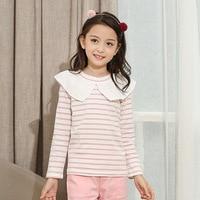 2017 autumn Striped little girl t shirt 5-14Years t-shirt for girls children tops long sleeve Peter Pan Collar t-shirt