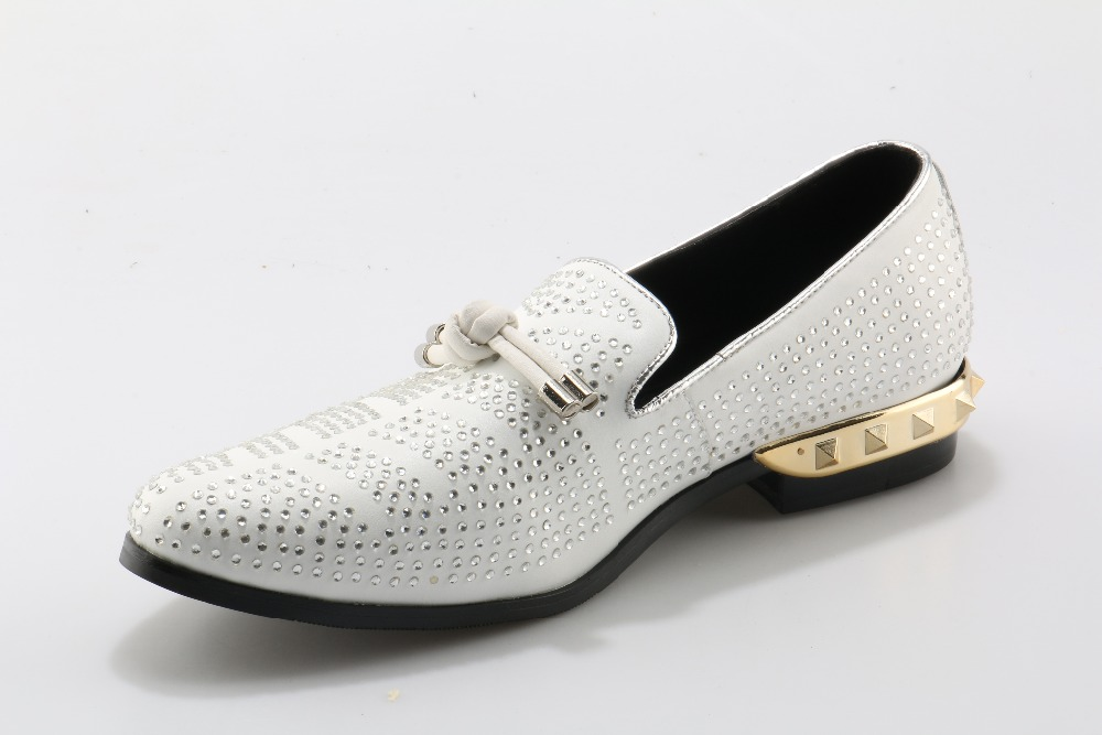 Men's Shoes Beertola Real Leather Mens Casual Shoes Embroiderd Gorgeous Fireworks Crystal Metal Decoration Slip On Loafers Handmade Shoes High Quality Goods Shoes