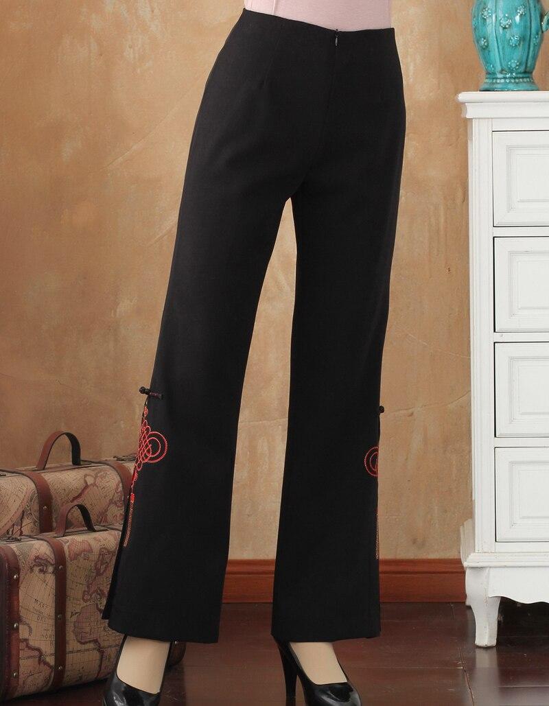 Autumn Winter Black Chinese Women Flare Trousers Embroidery Flower Pant Mid Waist Plus Size M L XL XXL 3XL 4XL 2513 3
