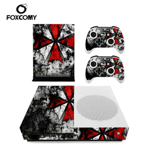 Image 1 - Red and White Umbrella Custom Vinyl Console Cover For Microsoft Xbox One SLIM Skin Stickers Controller Protective For XBOXONE S