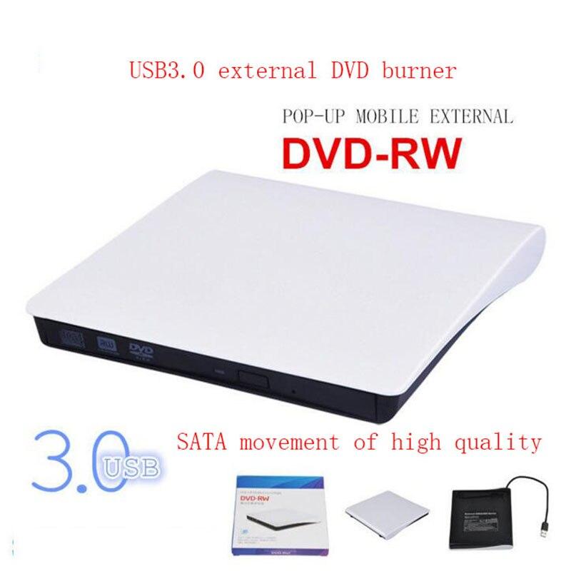 USB3.0 Portable External Slim DVD-RW/CD-RW Burner Recorder Optical Drive CD DVD ROM Combo Writer support windows10 white