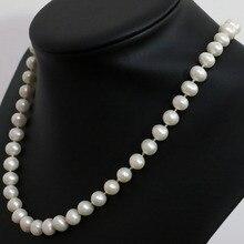 Элегантный пресноводные искусственные белый природный жемчуг приблизительно круглый бусины 7 — 8,8 — 9 мм ожерелье ювелирных украшений 18 дюймов B1462