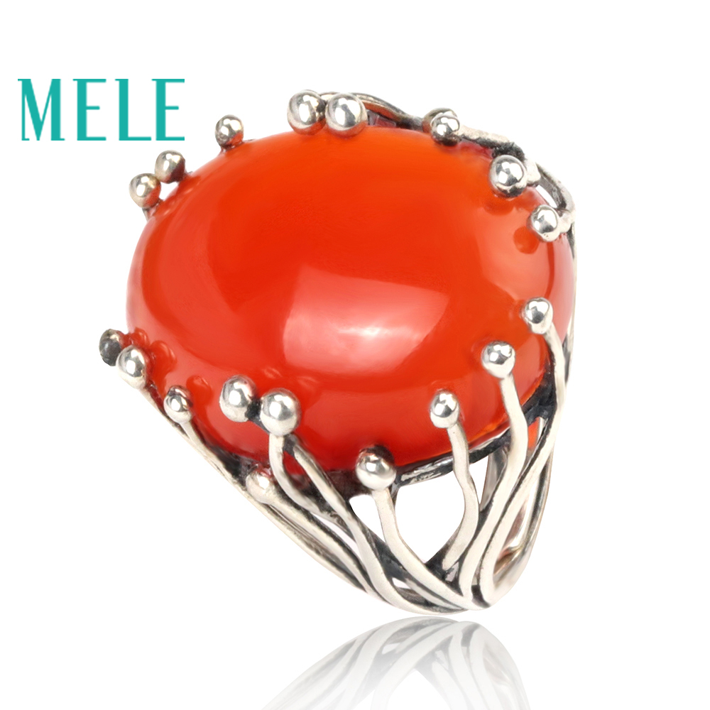 Natural south red agate rings for women and man 15X20mm big oval cut 925 sterling silver