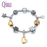 QGGLE Animal Turtle Charm Bangle & Bracelet For Women With Love Crystal Ball & Starfish Heart Pendants Valentines Day Gift