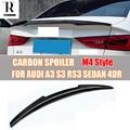 A3 S3 RS3 M4 Стиль углеродного волокна спойлер на задний багажник  крыло для Audi A3 S3 RS3 Седан 4 двери 2014-2016