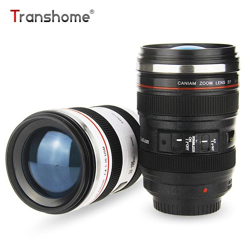 Transhome Creative Camera Kafijas krūzes Nerūsējošā tērauda lēcas Travel krūze Jaunums dāvanas Kamera objektīva krūze tējas piena kafijai