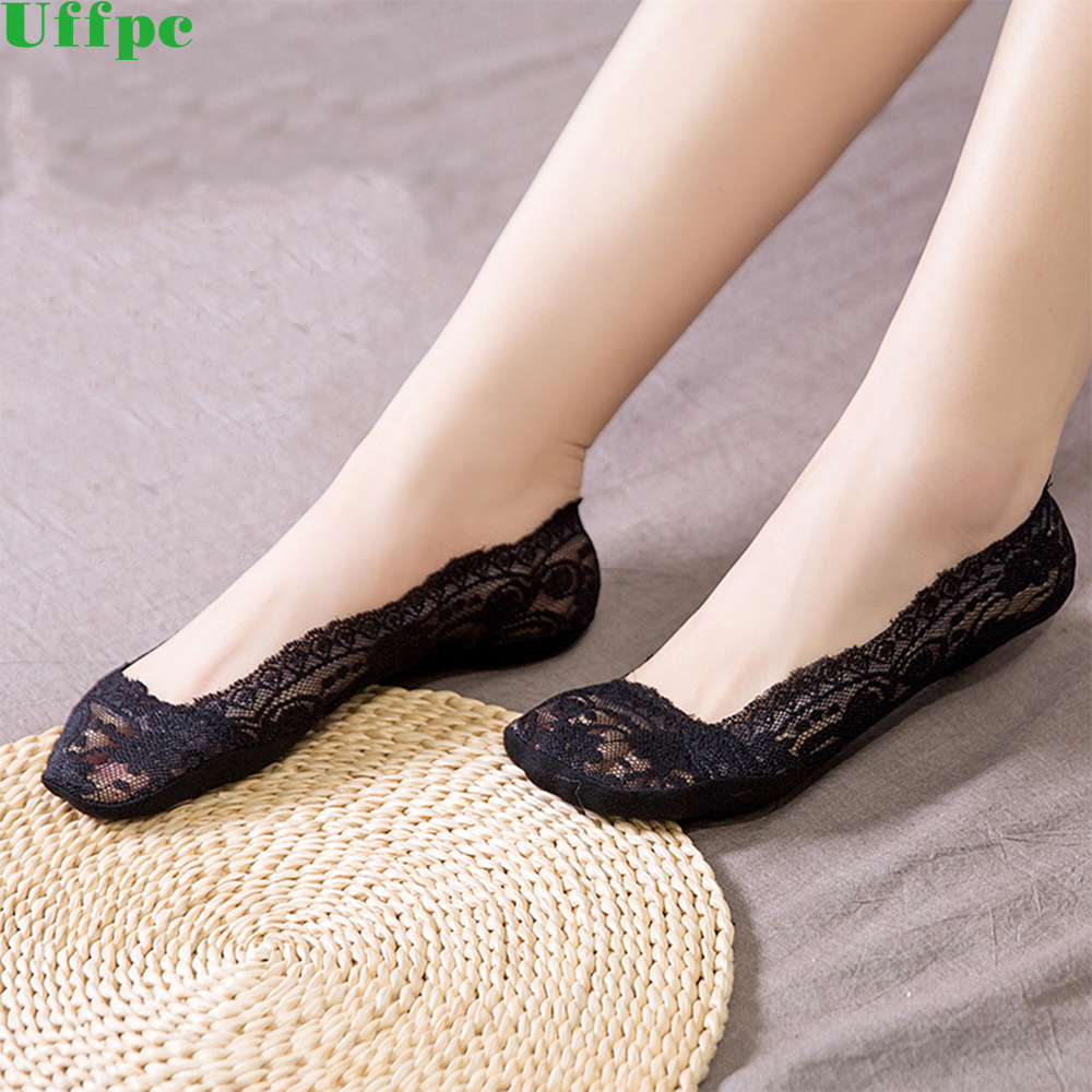 5pairs/lot Fashion Women Socks Cotton Antiskid Invisible Liner No Show Peds Low Cut Ice sock Summer Lace Short Sock